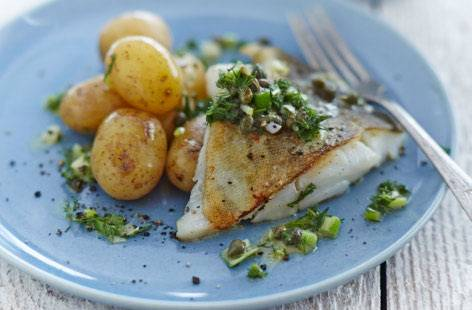 Bagt torsk med dampet spidskål og koriander