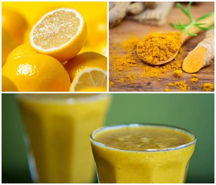 Morgen eliksir med gurkemeje og citron